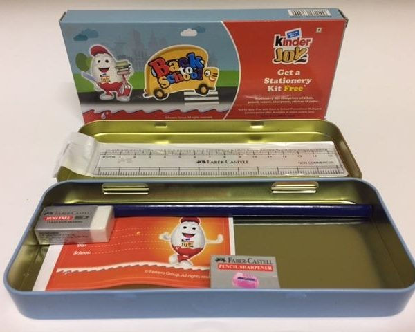 Kinder Joy Back To School Stationery Kit KIds Pencil/Eraser India 2016 Very Rare